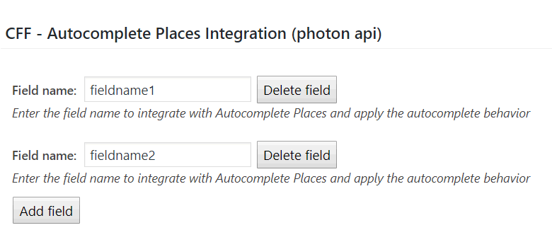 Autocomplete Places Add-on