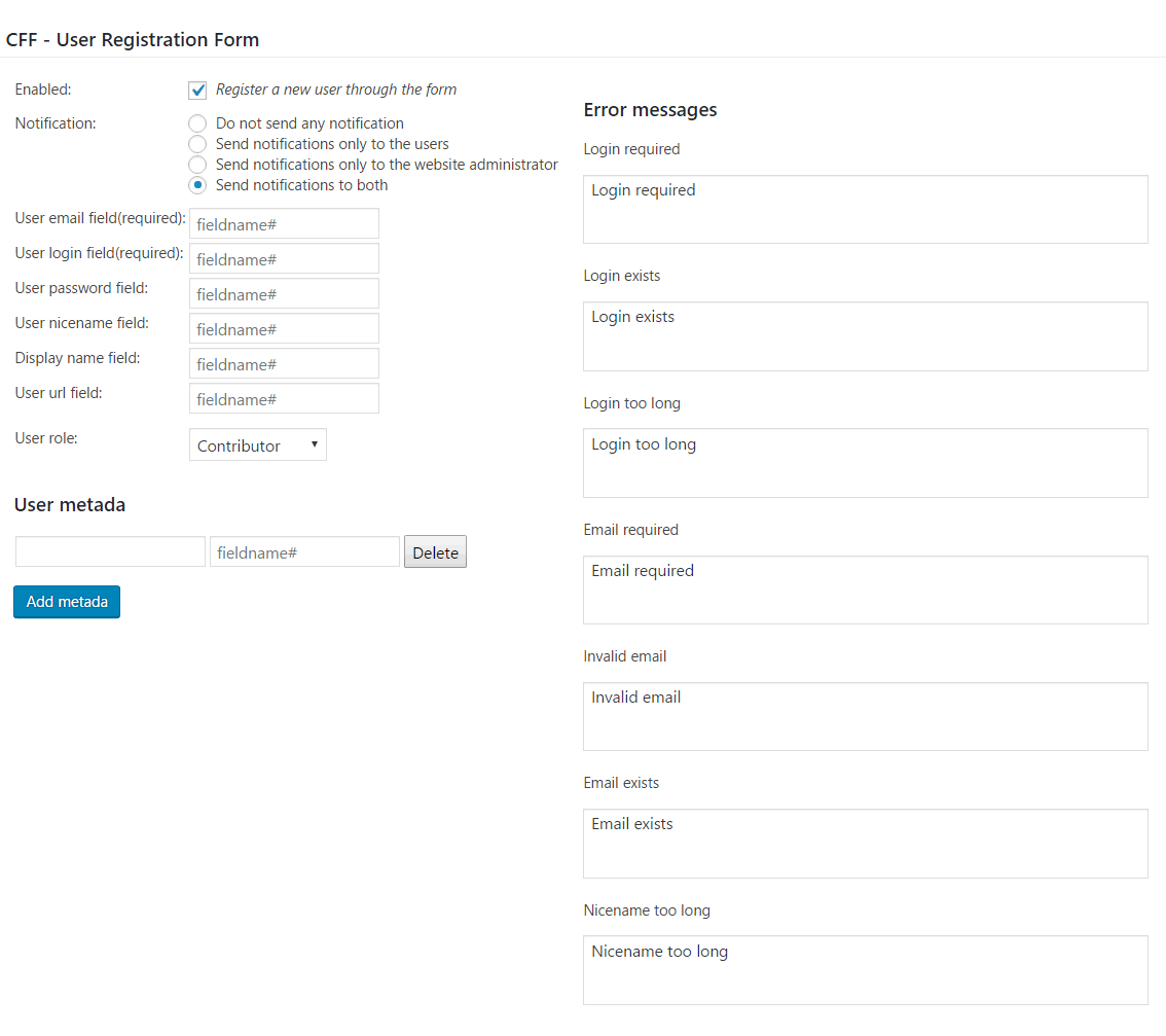 User Registration Form Add-on