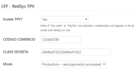 RedSys TPV form settings