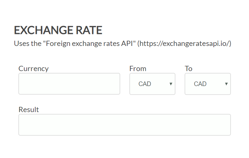 Exchange Rate Form