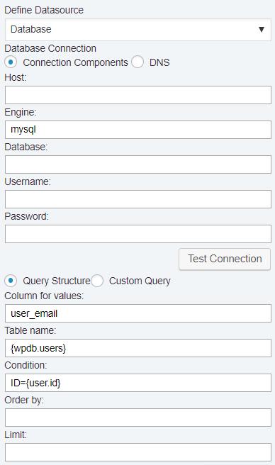 User Data - Database datasource