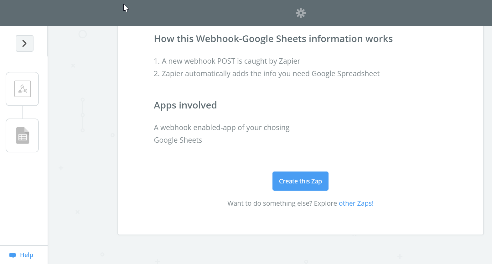 Zapier WebHook - Google Sheets template