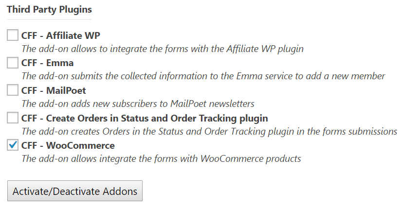 Activate the CFF - WooCommerce add-on