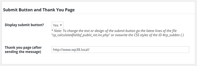 Submit button and thank you page